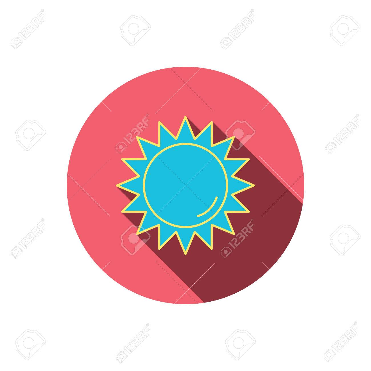 Sun Rays Icon. Summer Sign. Hot Weather Symbol. Red Flat Circle ...