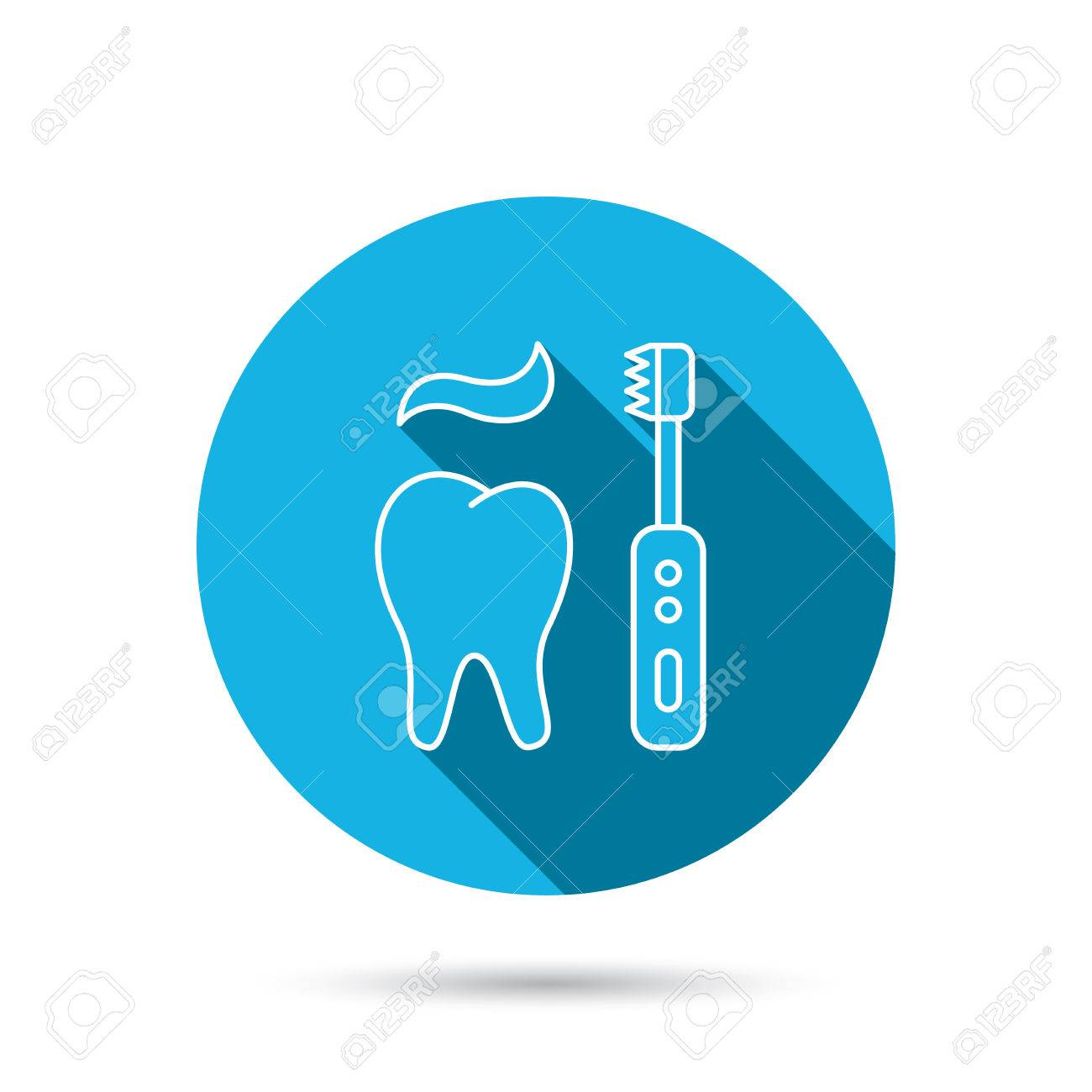 Brushing Teeth Icon. Electric Toothbrush Sign. Toothpaste And ...
