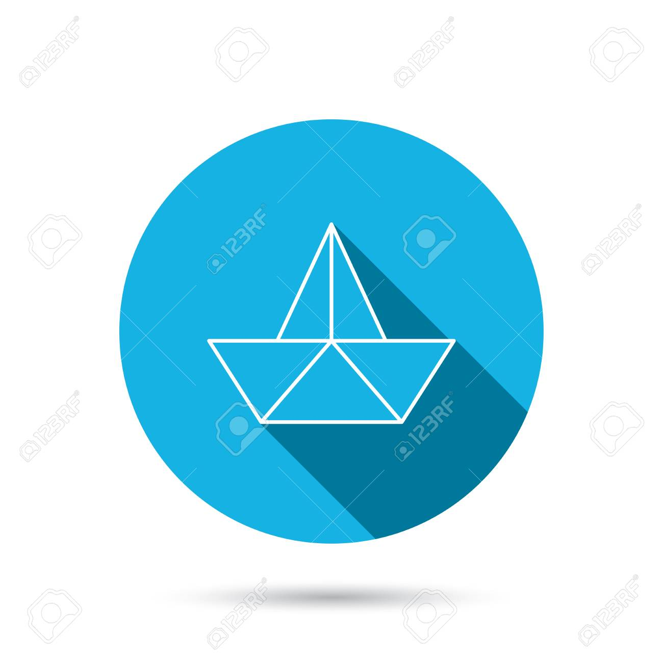 Paper Boat Icon Origami Ship Sign Sailing Symbol Blue Flat Circle Button With