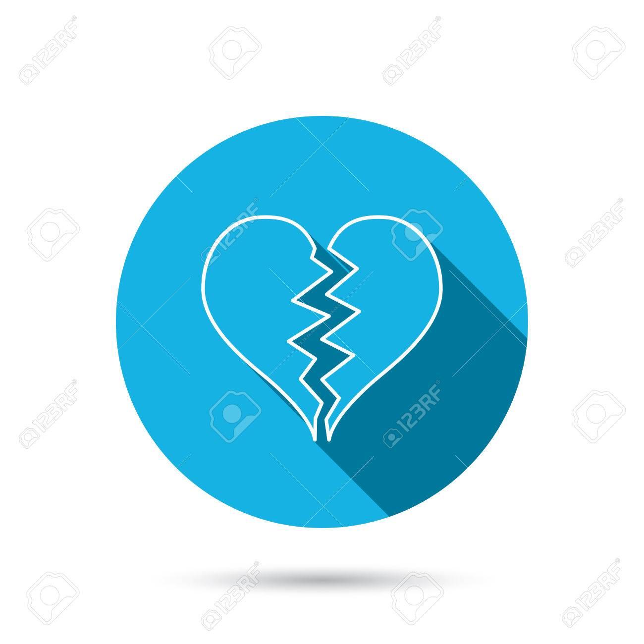 Broken heart icon divorce sign end of love symbol blue flat broken heart icon divorce sign end of love symbol blue flat circle button buycottarizona