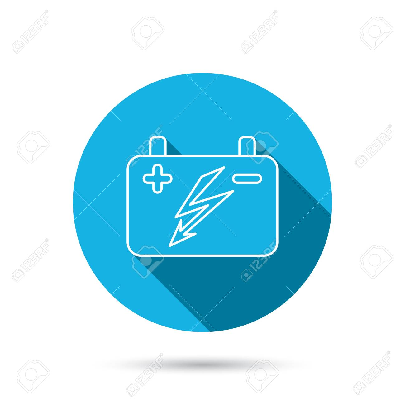 Akku-Symbol. Elektrische Batterie Zeichen. Blau Flach Kreis ...
