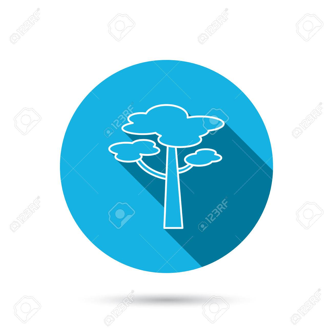 Pine Tree Icon Forest Wood Sign Nature Environment Symbol Blue