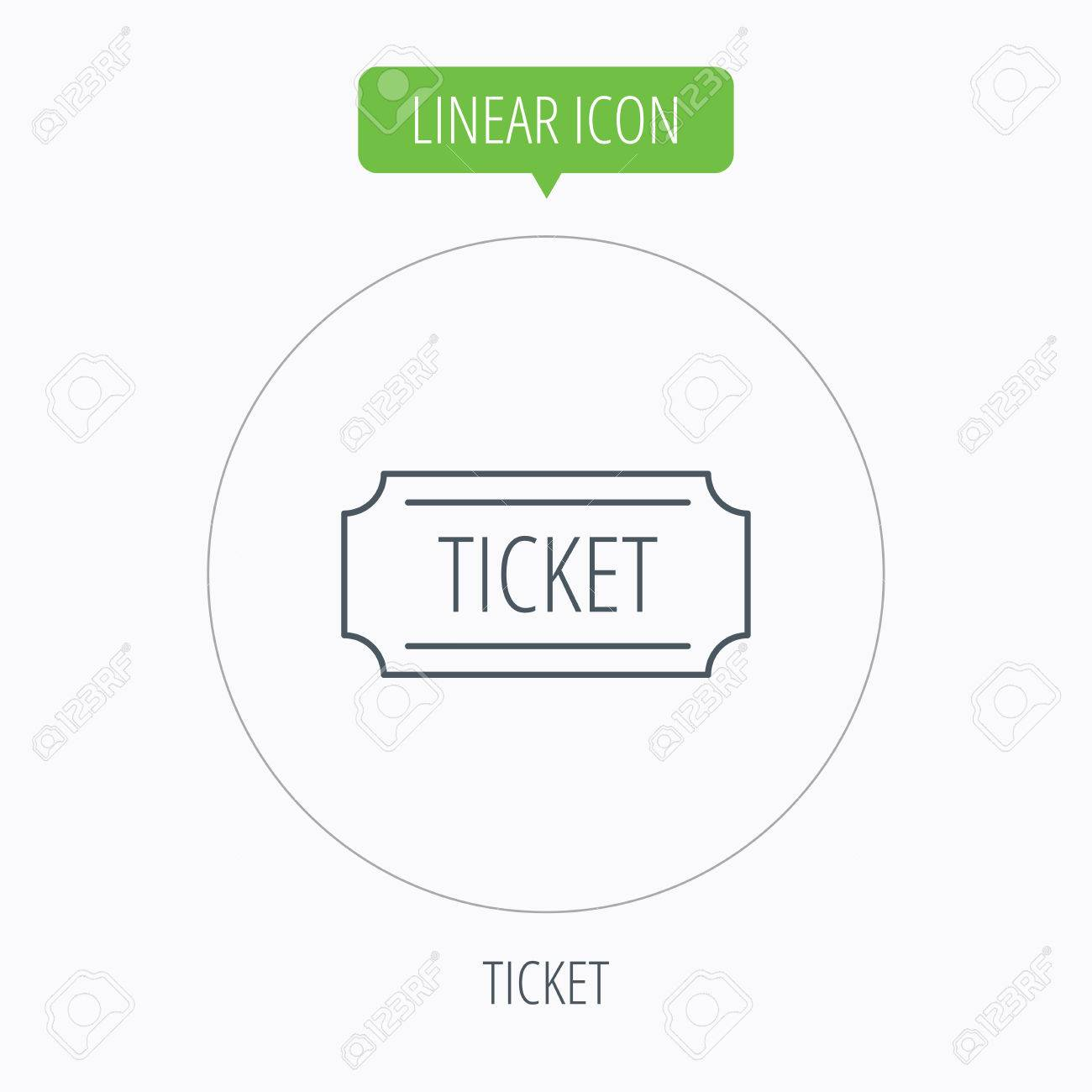 Ticket Icon Coupon Sign Linear Outline Circle Button Vector – Ticket Outline