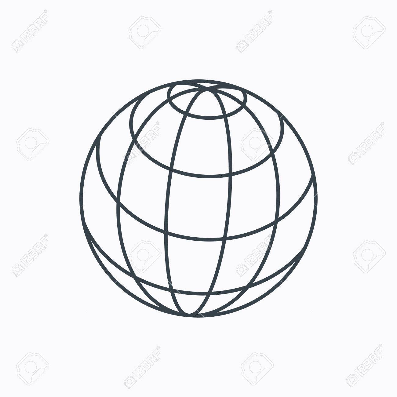 Globe Icon World Travel Sign Internet Network Symbol Linear Outline On White