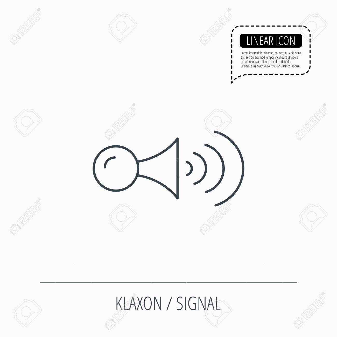 Klaxon Signal Icon Car Horn Sign Linear Outline Icon Speech