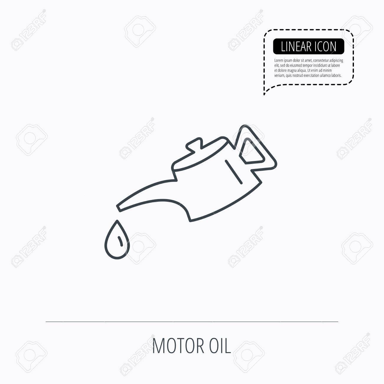 Motor Olie Pictogram Brandstof Kan Met Drop Teken Lineaire