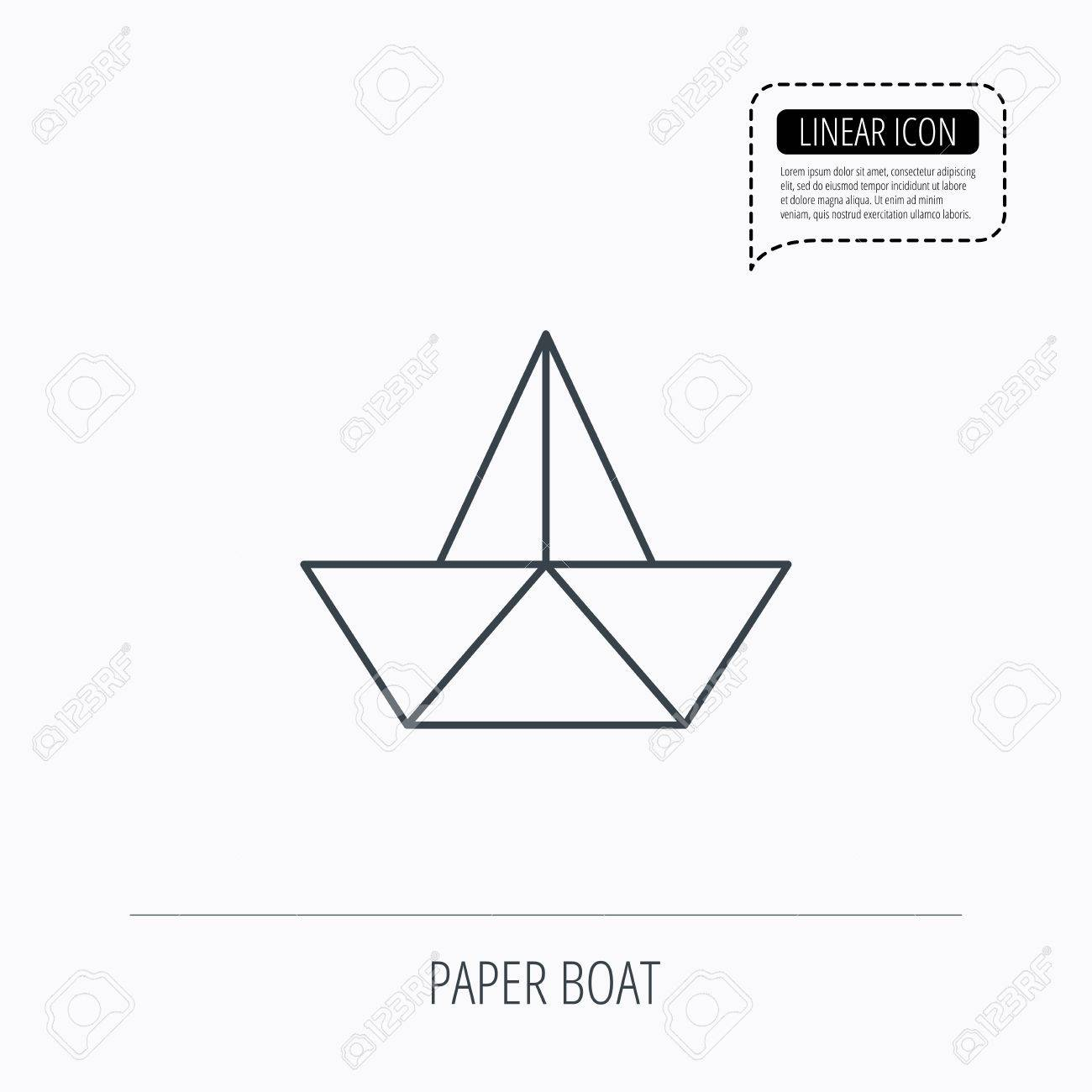 Paper Boat Icon Origami Ship Sign Sailing Symbol Linear Outline Speech