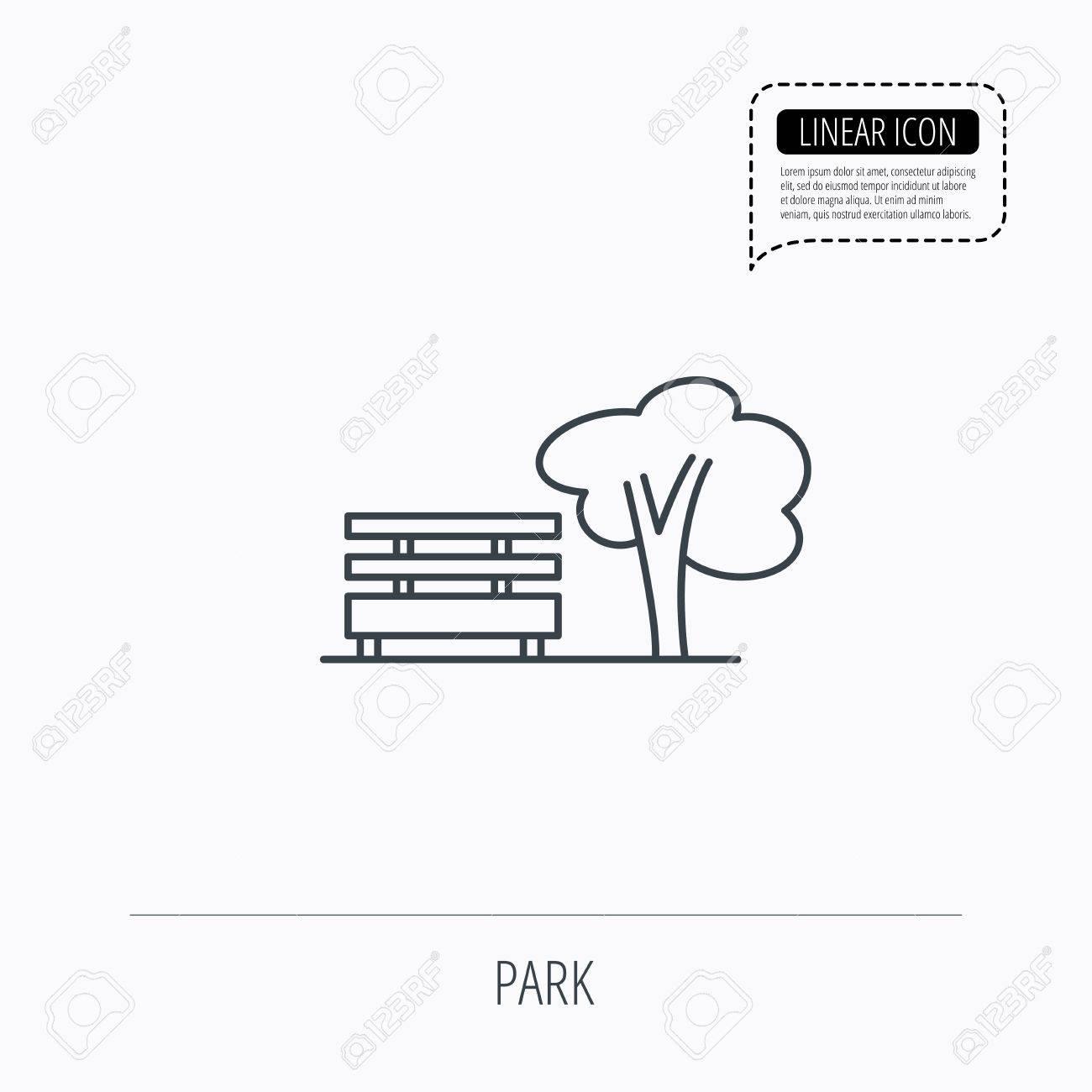 Public Icône De Parc Arbre Avec Le Signe De Banc Linear Icône De