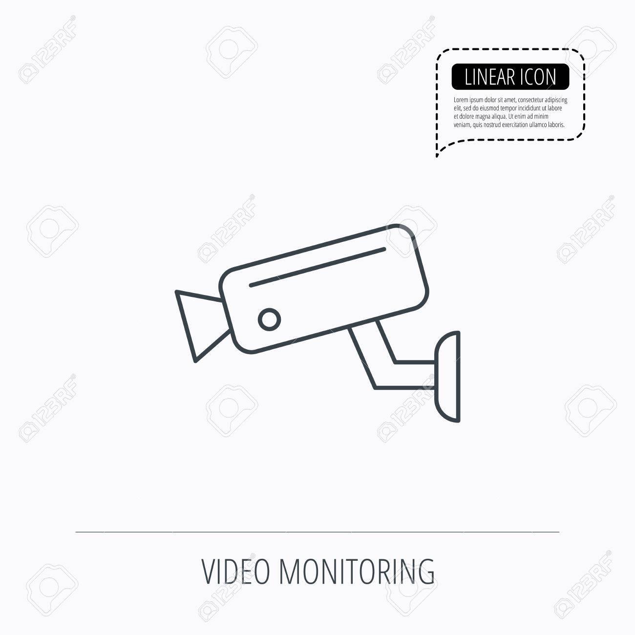 Circuito Lineal : Icono de monitorización de vídeo señal de circuito cerrado de