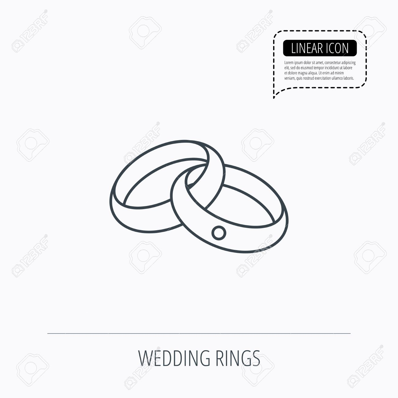 Vector Wedding Rings Icon Bride And Groom Jewelery Sign Linear Outline Speech Bubble Of Dotted Line: Icon Wedding Ring Bride At Reisefeber.org