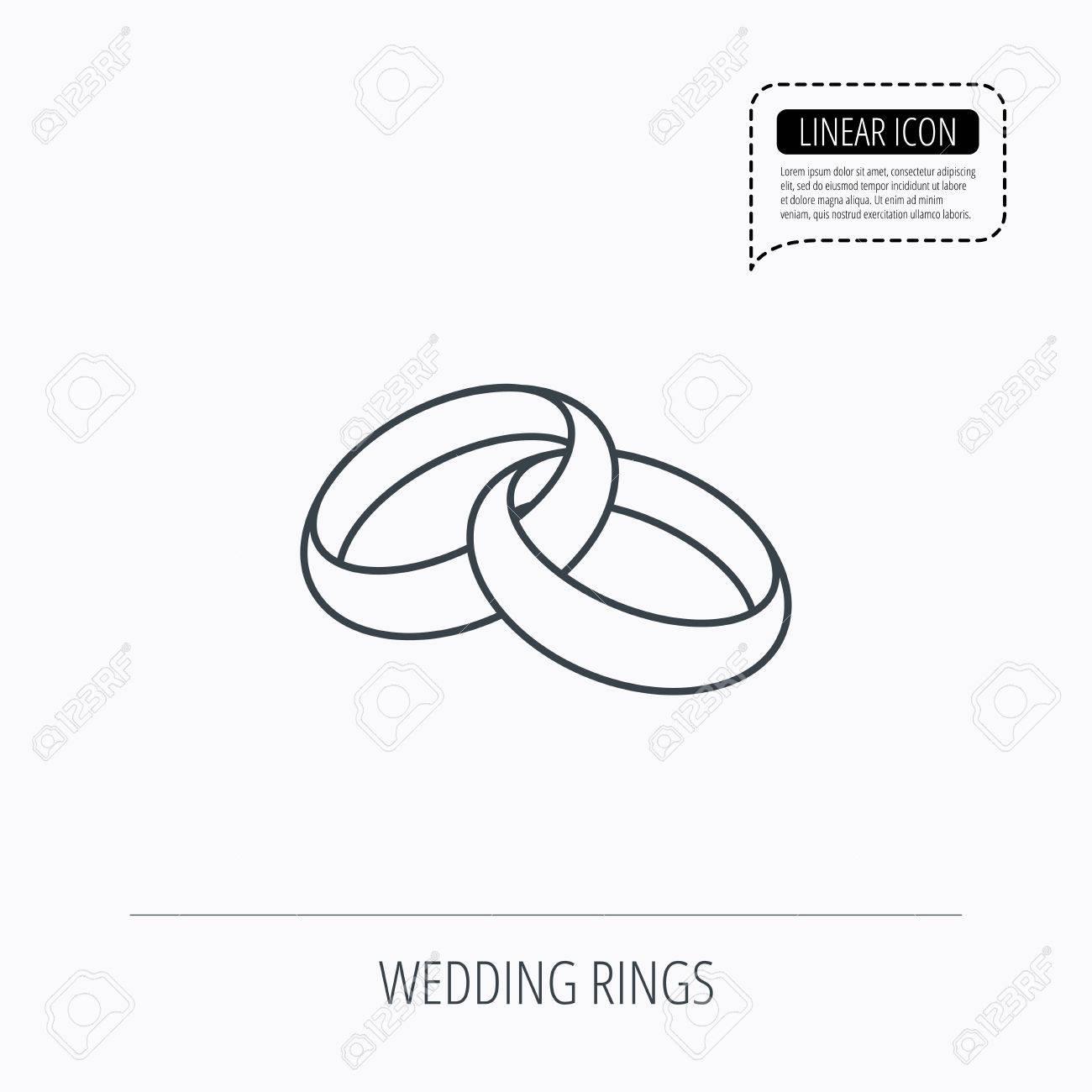 Hochzeitsringe Symbol. Braut und Bräutigam Schmuck Zeichen. Linear  Umriss-Symbol. Sprechblase der gestrichelten Linie. Vector