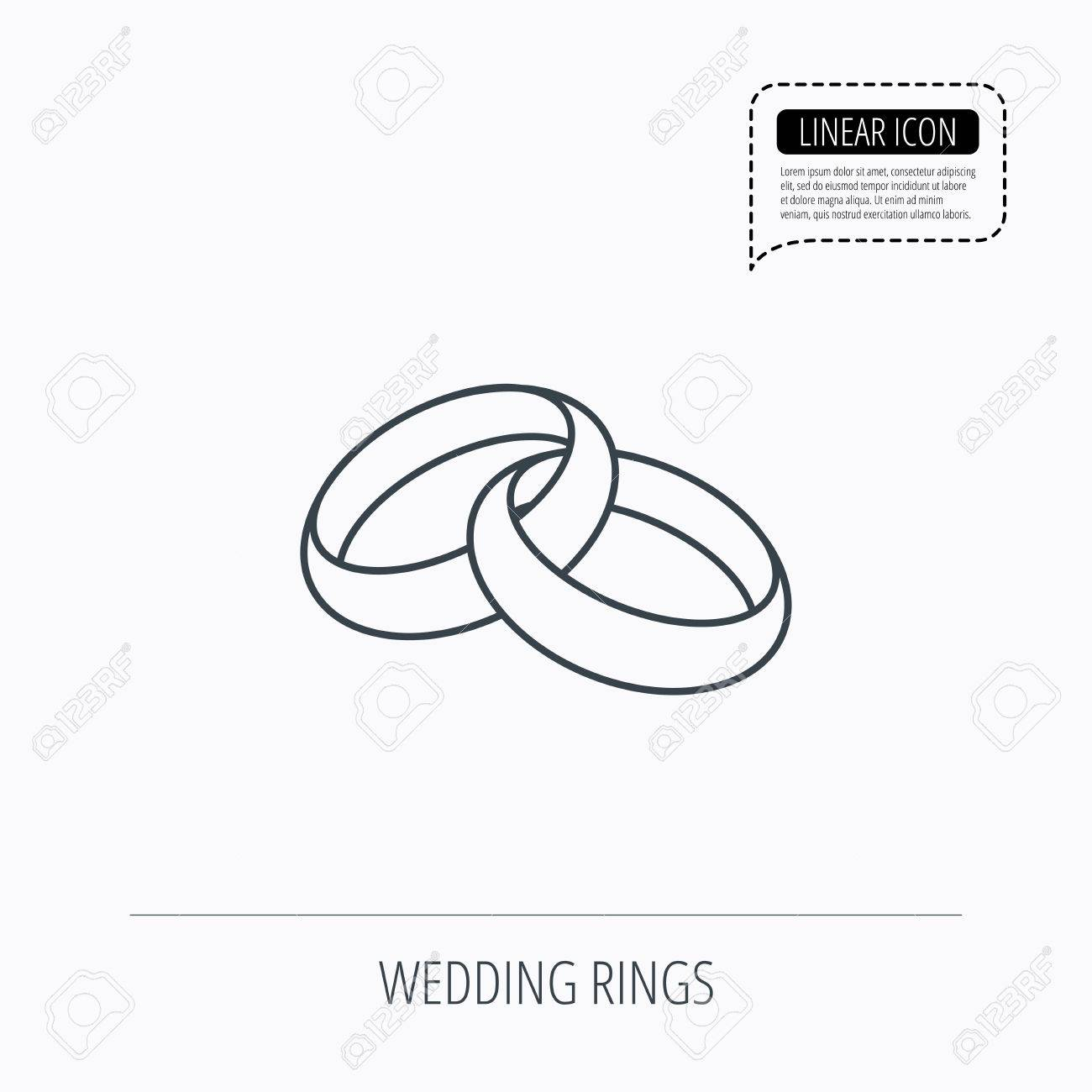 Wedding Rings Icon Bride And Groom Jewelery Sign Linear Outline