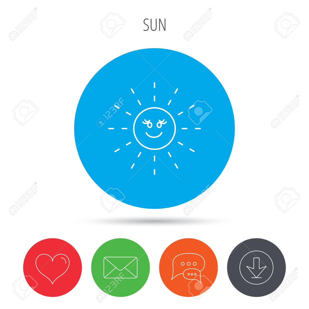 Sun Rays Icon Summer Sign Hot Weather Symbol Mail Download
