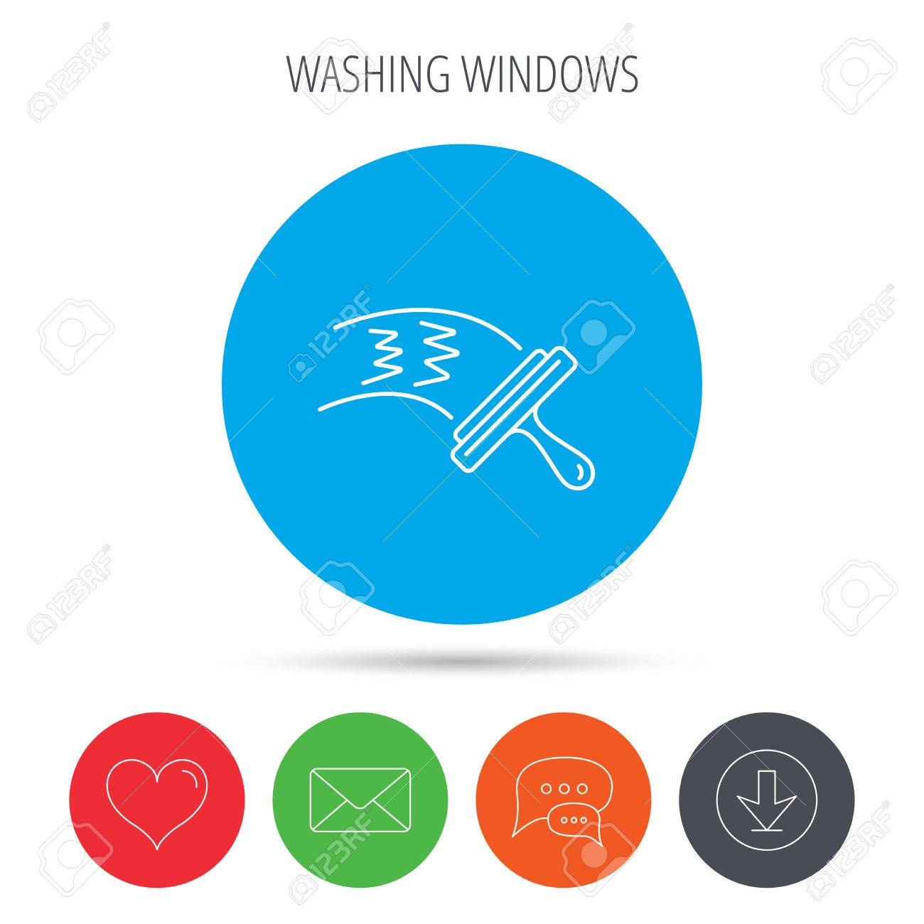 Washing windows icon  Cleaning sign  Mail, download and speech