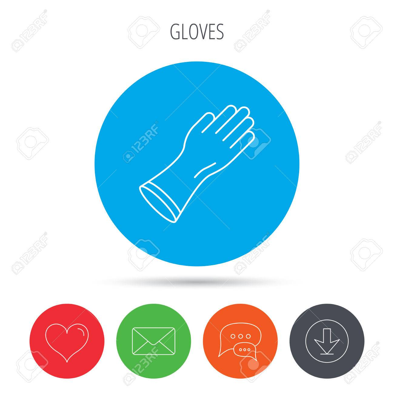 Rubber gloves icon latex hand protection sign housework cleaning vector rubber gloves icon latex hand protection sign housework cleaning equipment symbol mail biocorpaavc