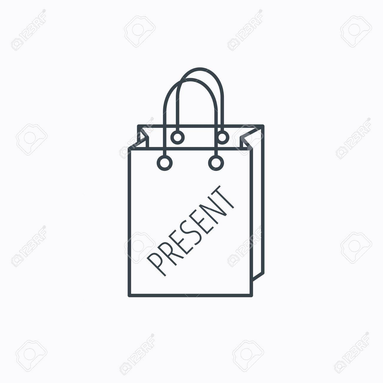 Present Shopping Bag Icon. Gift Handbag Sign. Linear Outline ...