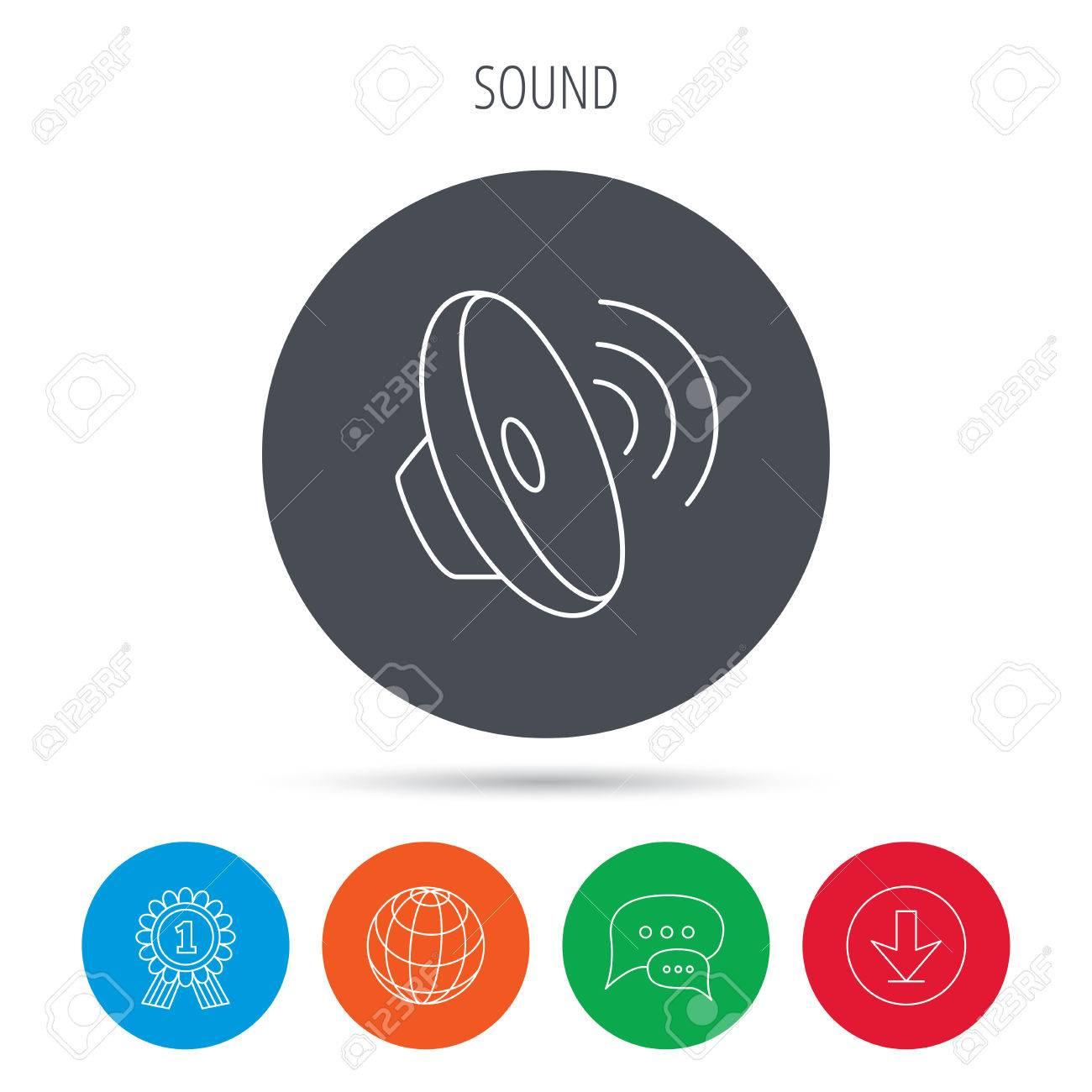 Sound waves icon  Audio speaker sign  Music symbol  Globe, download