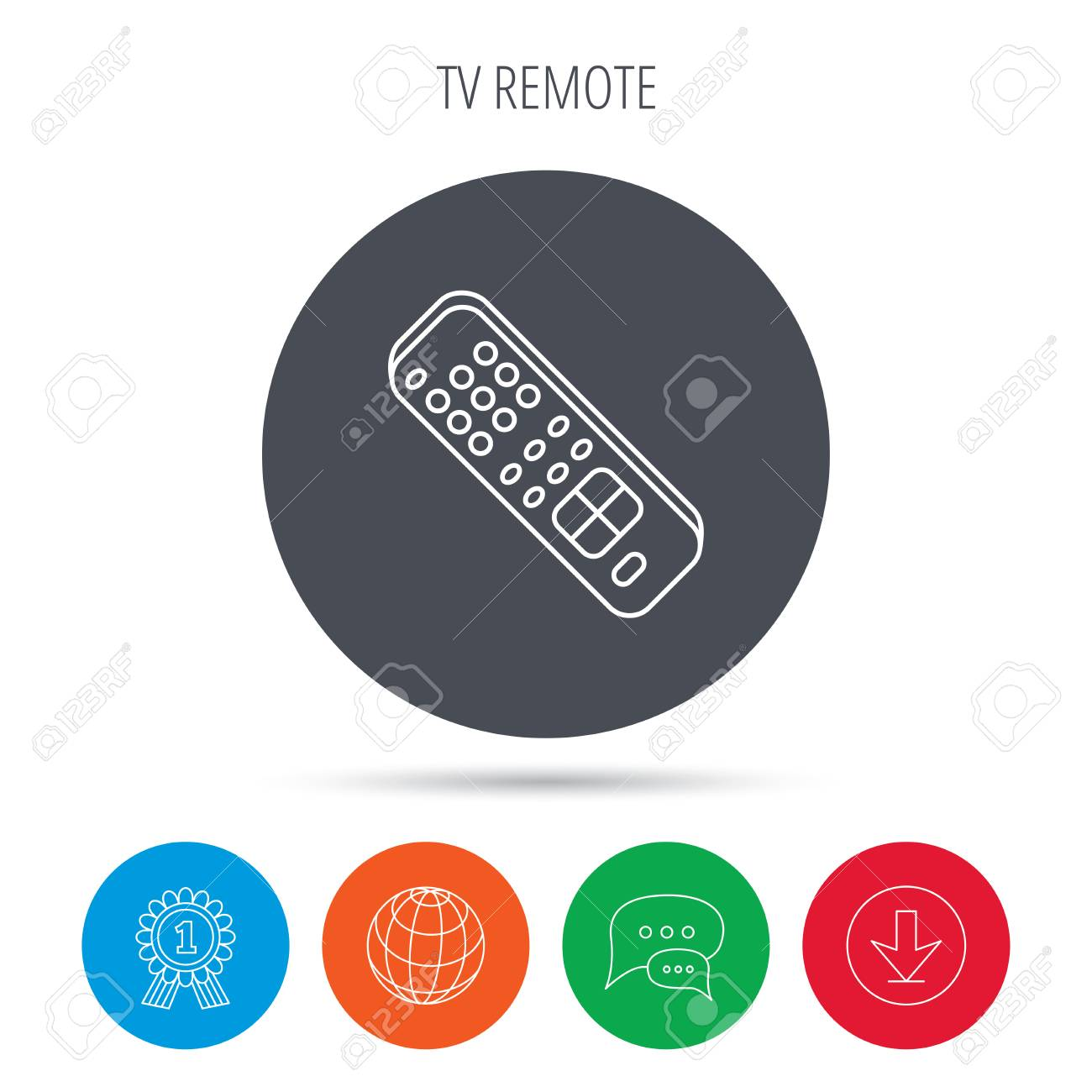 Remote control icon  TV switching channels sign  Globe, download