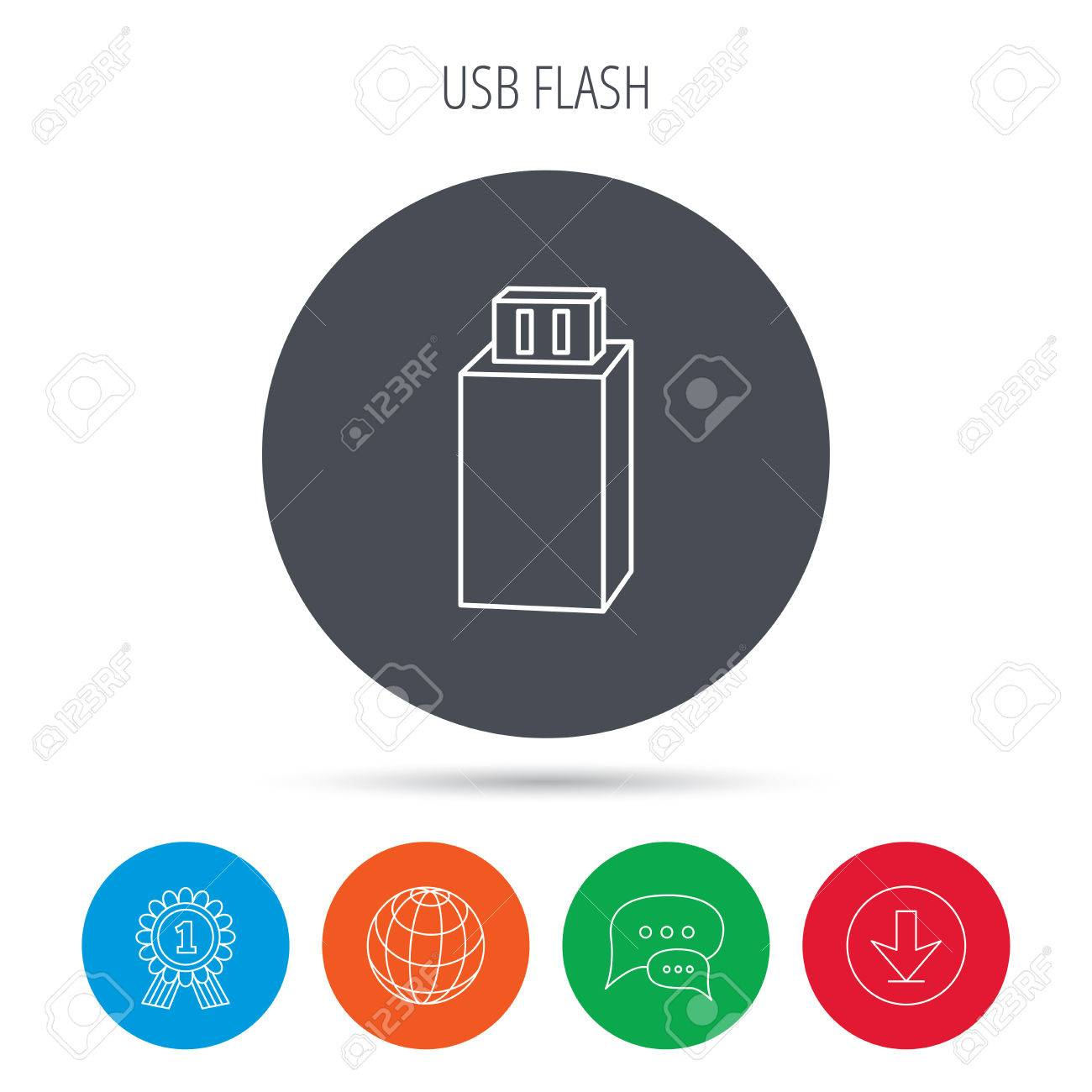 USB drive icon  Flash stick sign  Mobile data storage symbol