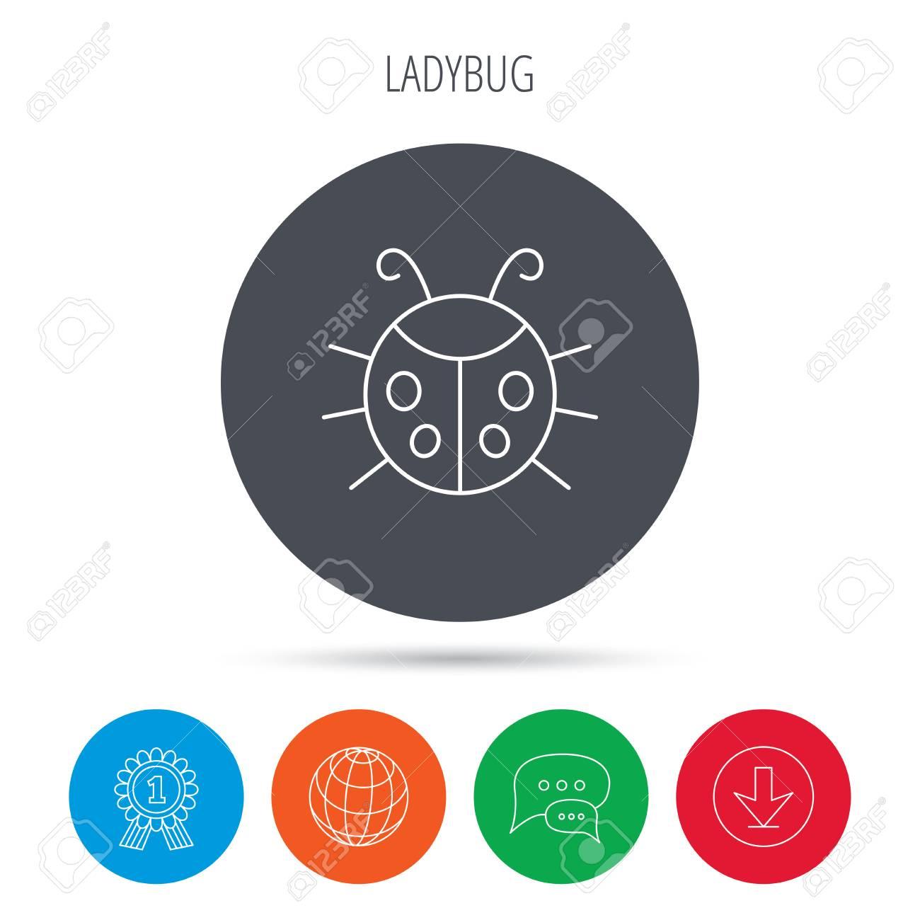 Ladybug Icon. Ladybird Insect Sign. Flying Beetle Bug Symbol ...