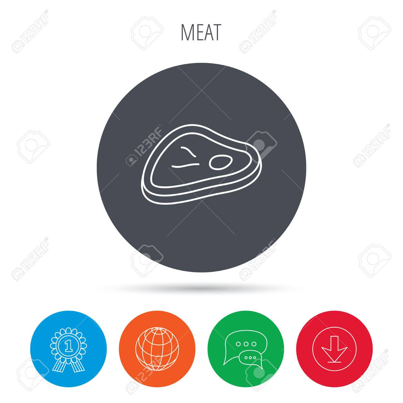 meat icon beef steak sign barbecue meat slice symbol globe