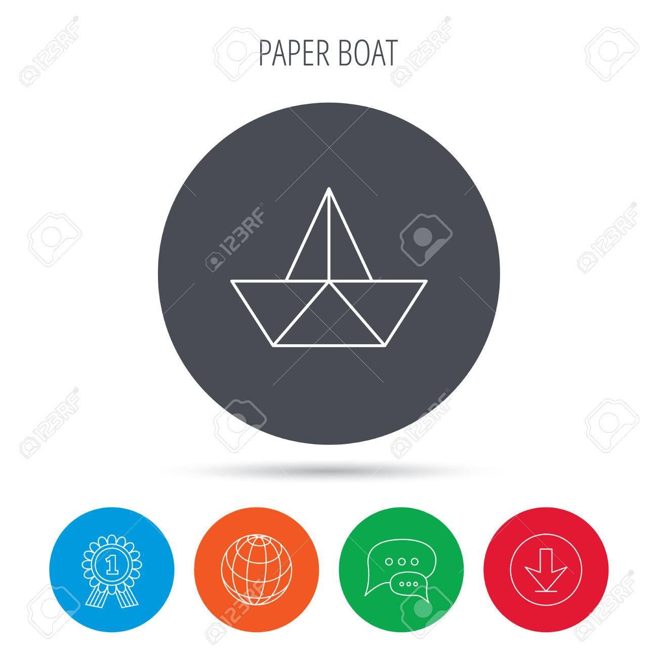 Paper boat icon origami ship sign sailing symbol globe paper boat icon origami ship sign sailing symbol globe download and speech buycottarizona