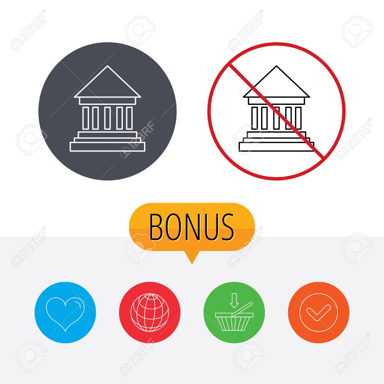 Bank Icon Court House Sign Money Investment Symbol Shopping