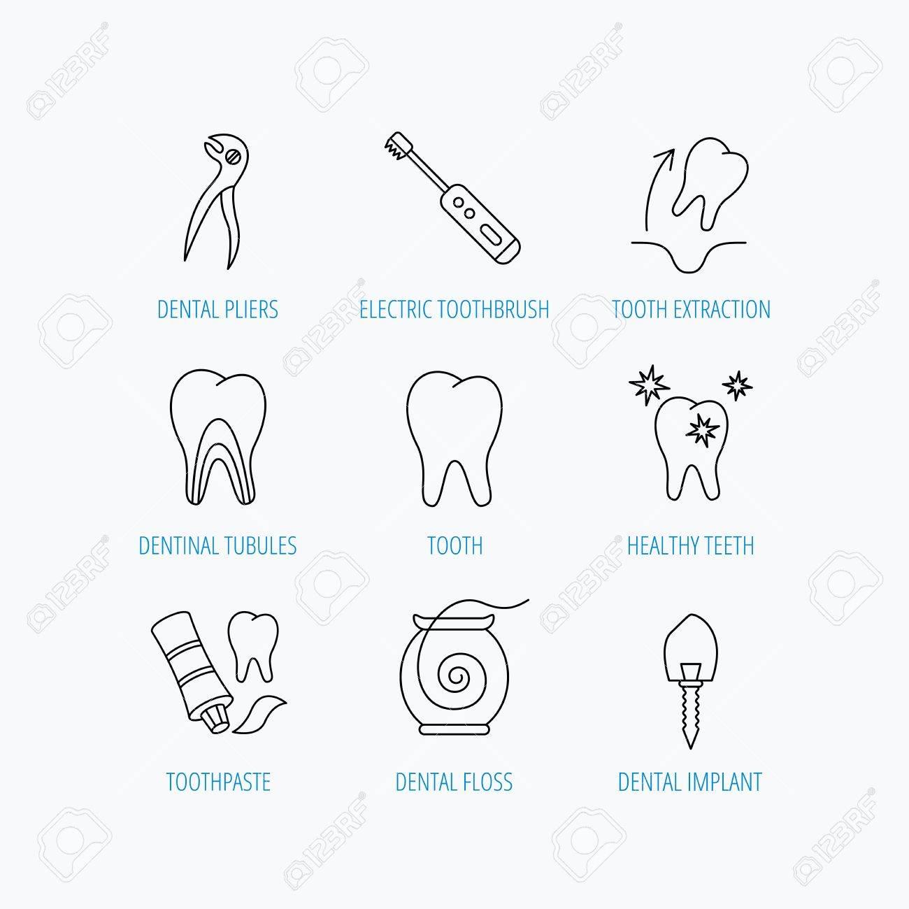 Zahnextraktion, Elektrische Zahnbürste Symbole. Zahnimplantat ...