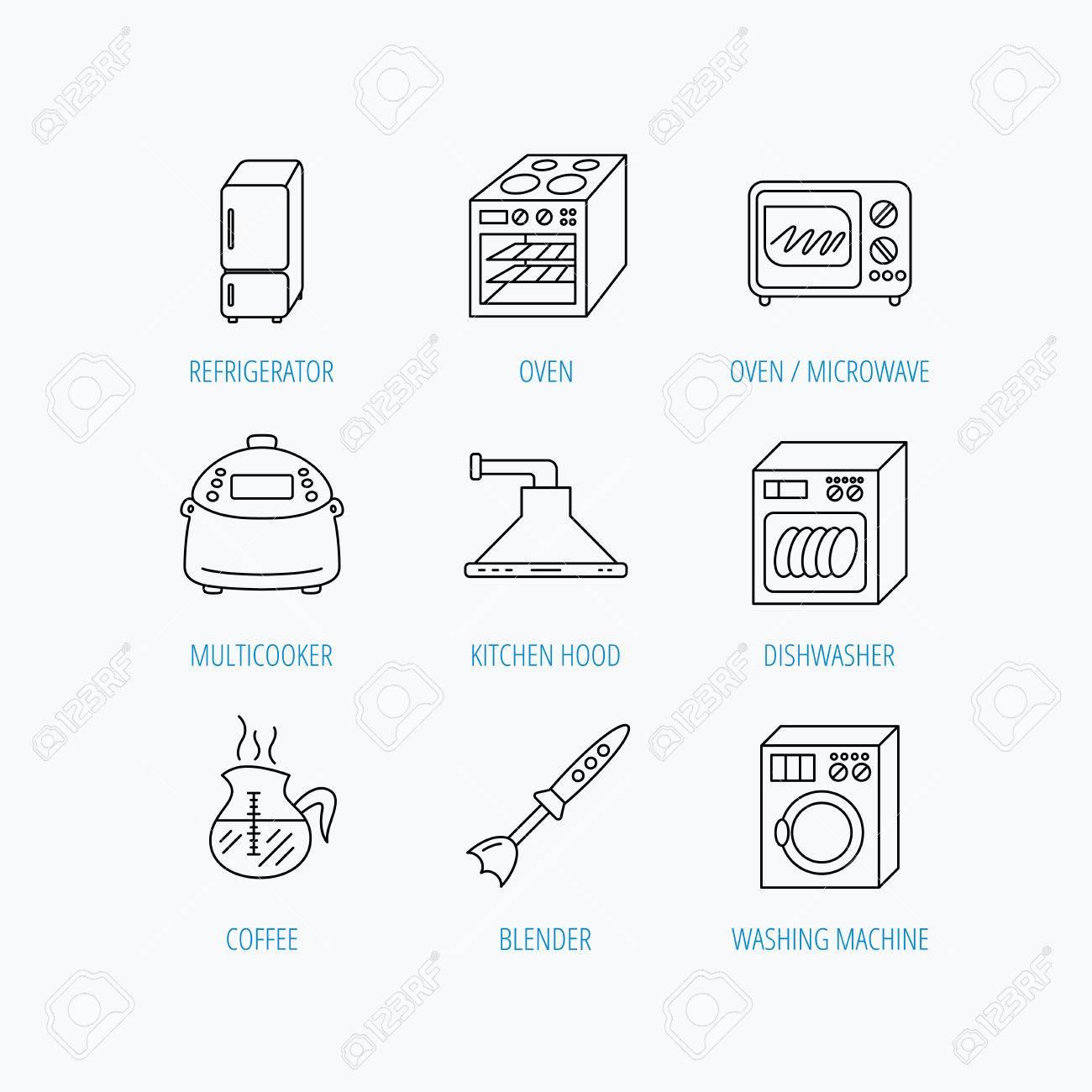 Sehr Mikrowelle, Waschmaschine Und Mixer-Symbole. Kühlschrank JL69