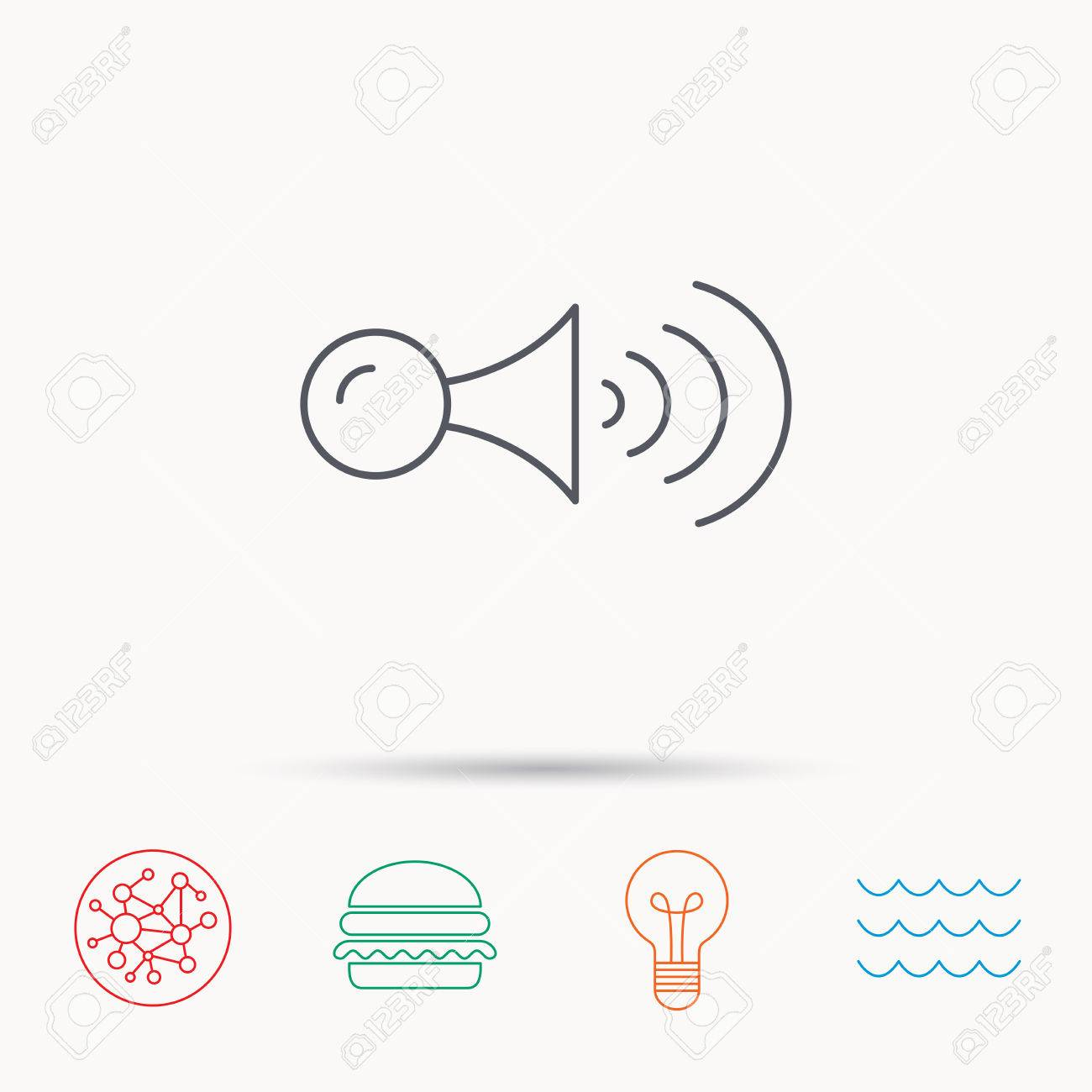 Klaxon Signal Icon Car Horn Sign Global Connect Network Ocean
