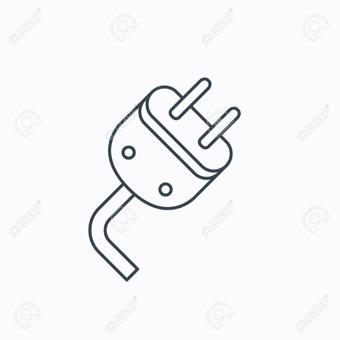 Electric Plug Icon. Electricity Power Sign. Cord Energy Symbol ...