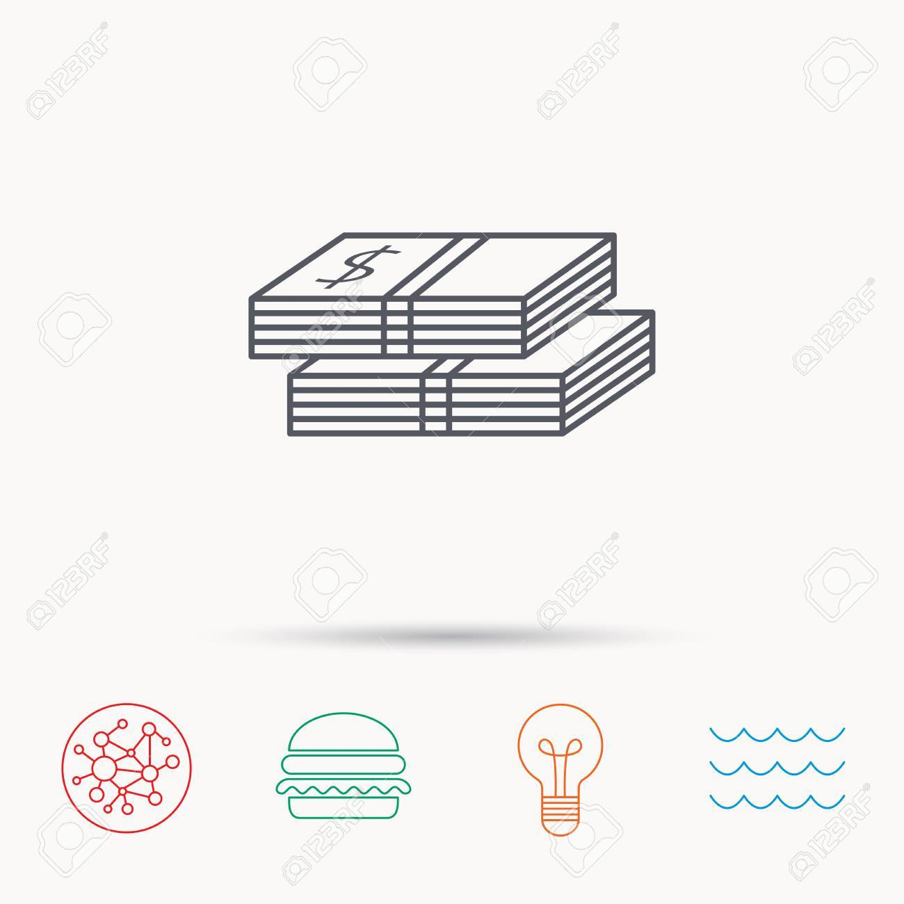 Cash Icon Dollar Money Sign Usd Currency Symbol 2 Wads Of