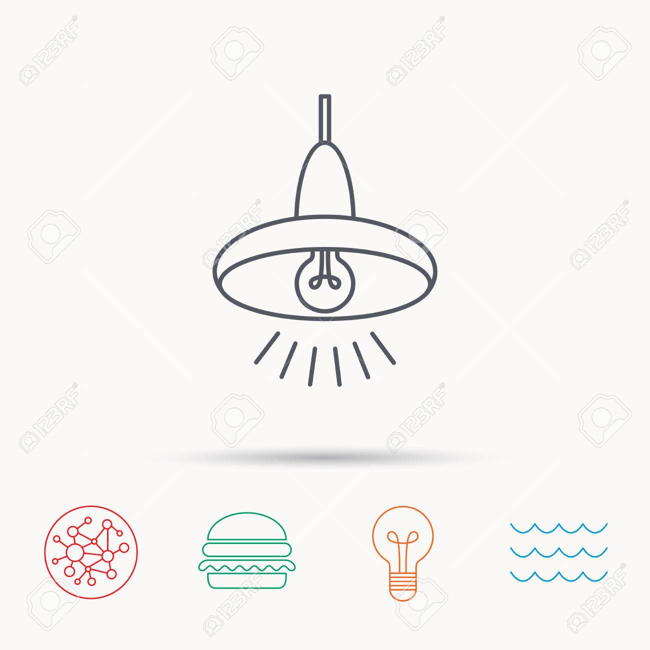 Ceiling Lamp Icon. Light Illumination Sign. Global Connect Network ...