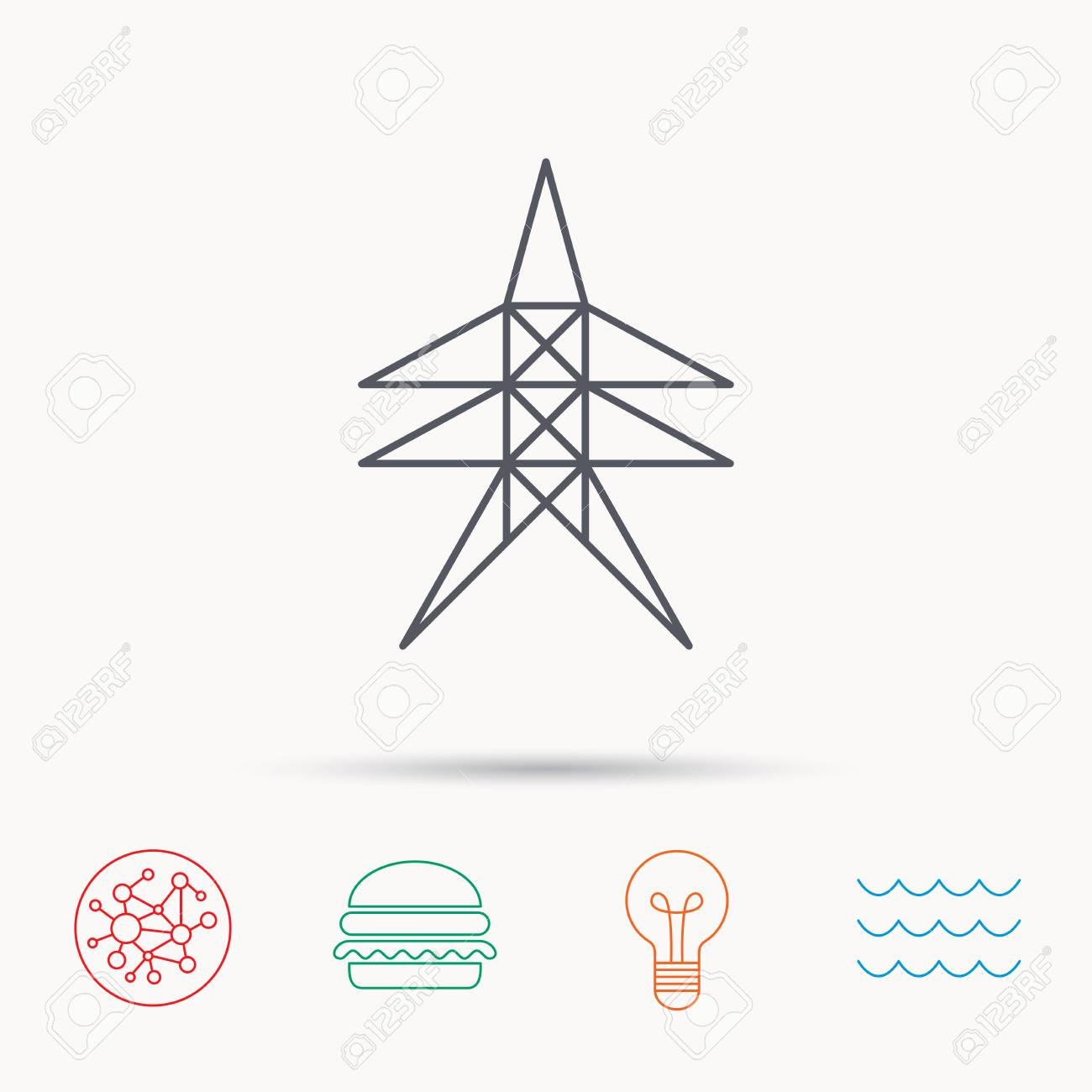 Electricity Station Icon. Power Tower Sign. Global Connect Network ...