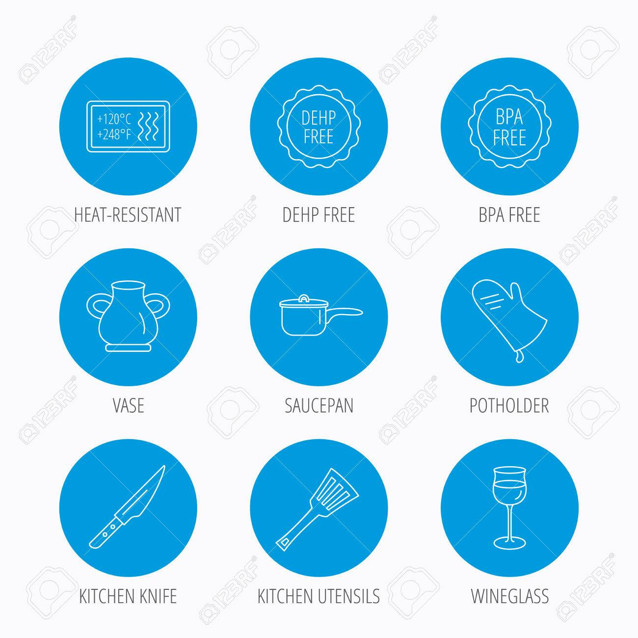 Saucepan, Potholder And Wineglass Icons. Kitchen Knife, Utensils ...