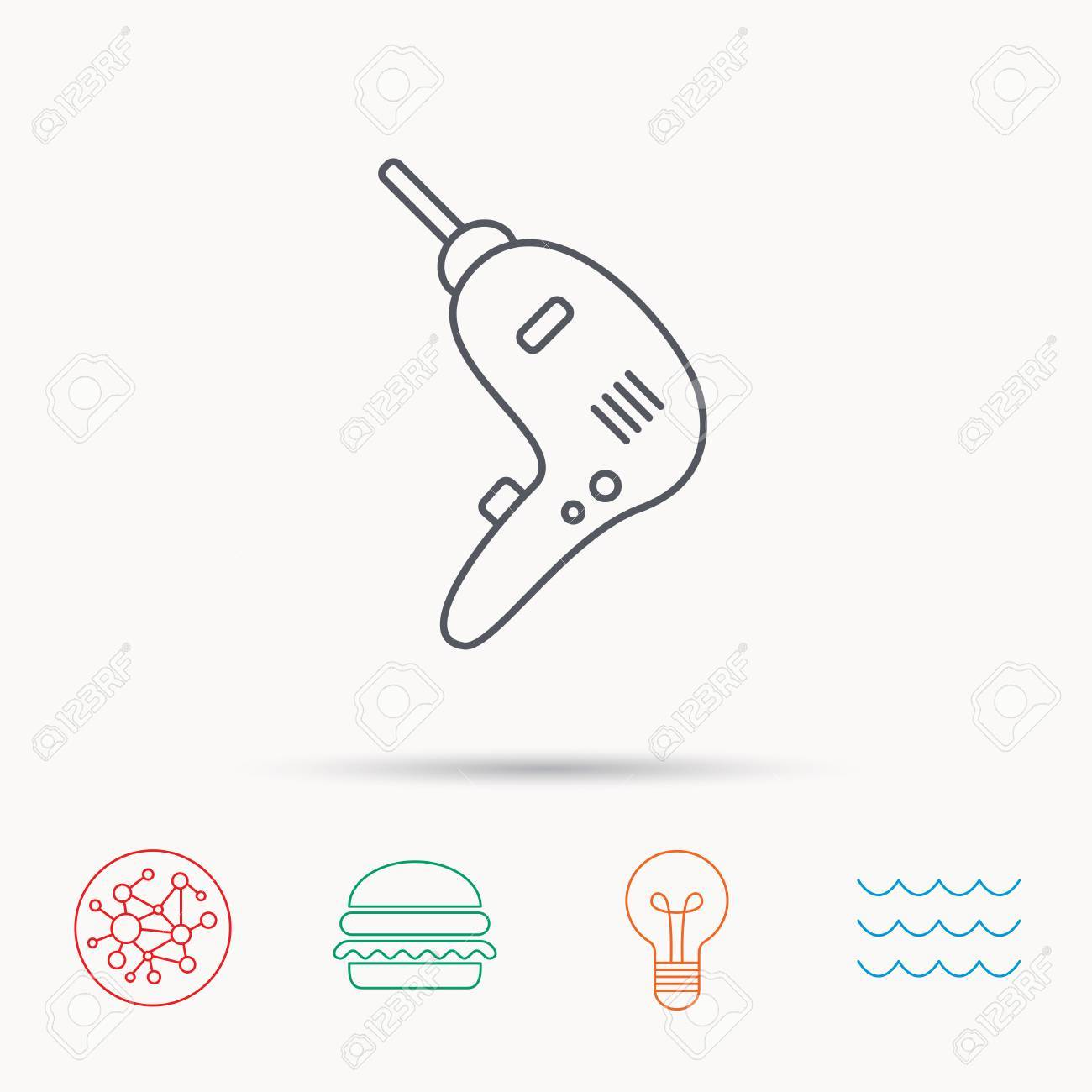 Drill Tool Icon. Electric Jack-hammer Sign. Global Connect Network ...