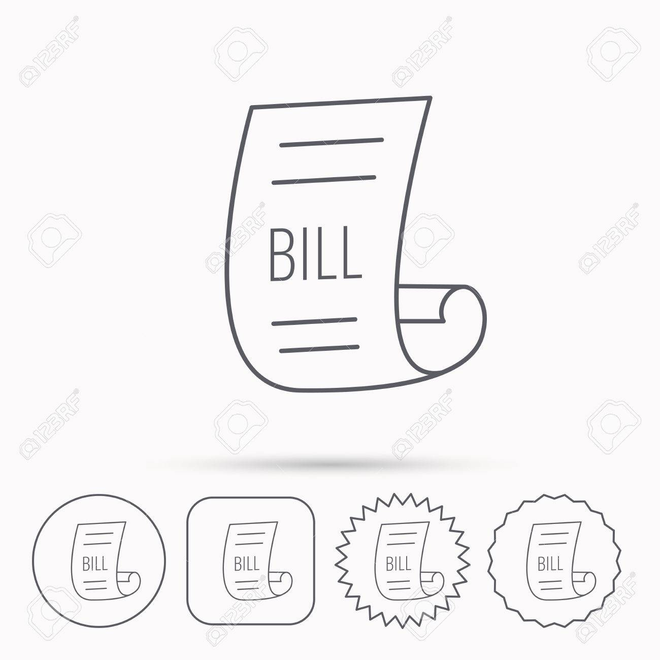 bill icon pay document sign business invoice or receipt symbol