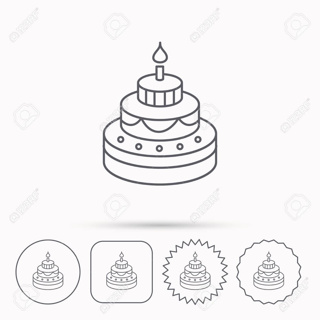 Kuchen-Symbol. Geburtstag Köstliches Dessert Zeichen. Süßes Essen ...