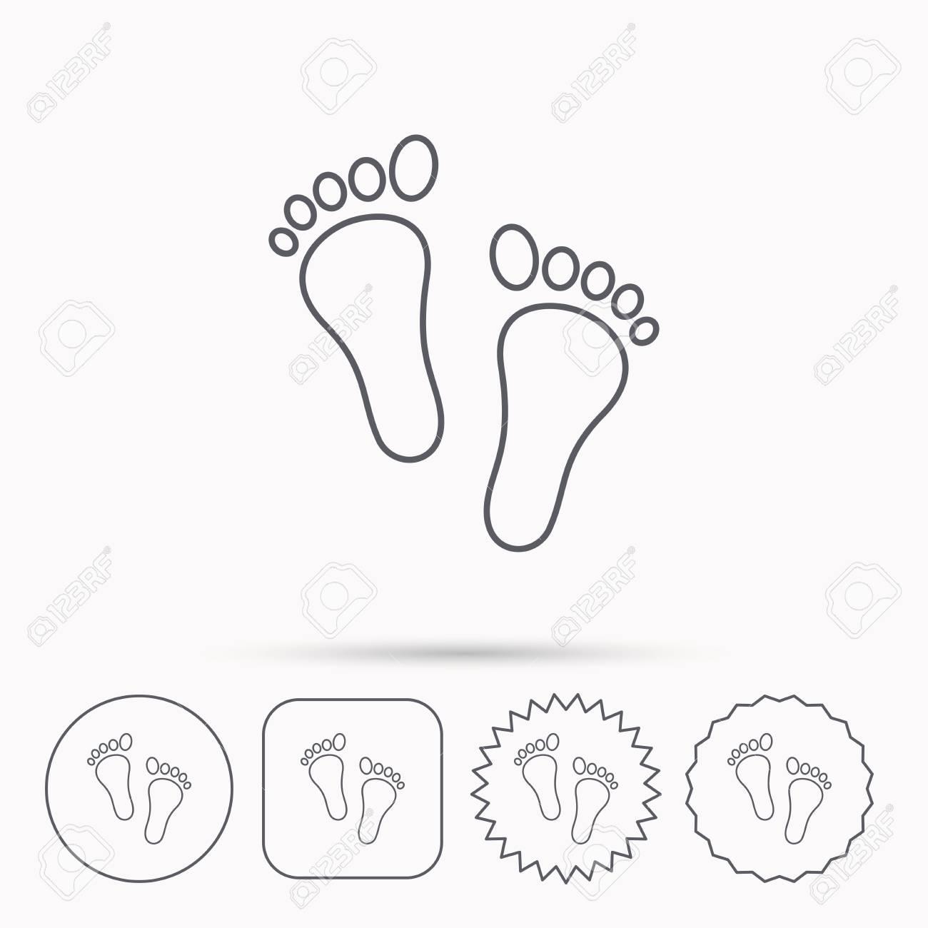 Baby Footprints Icon Child Feet Sign Newborn Steps Symbol Linear