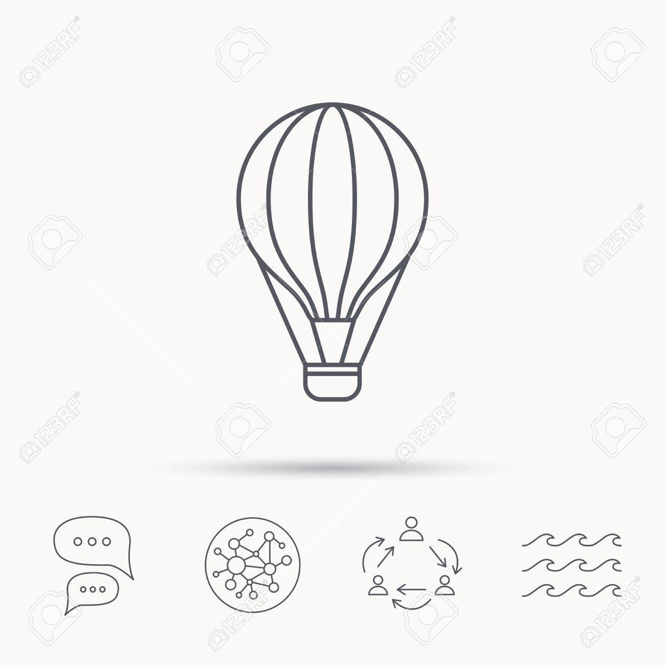 Air Balloon Icon Fly Transport Sign Airship Travel Symbol Global