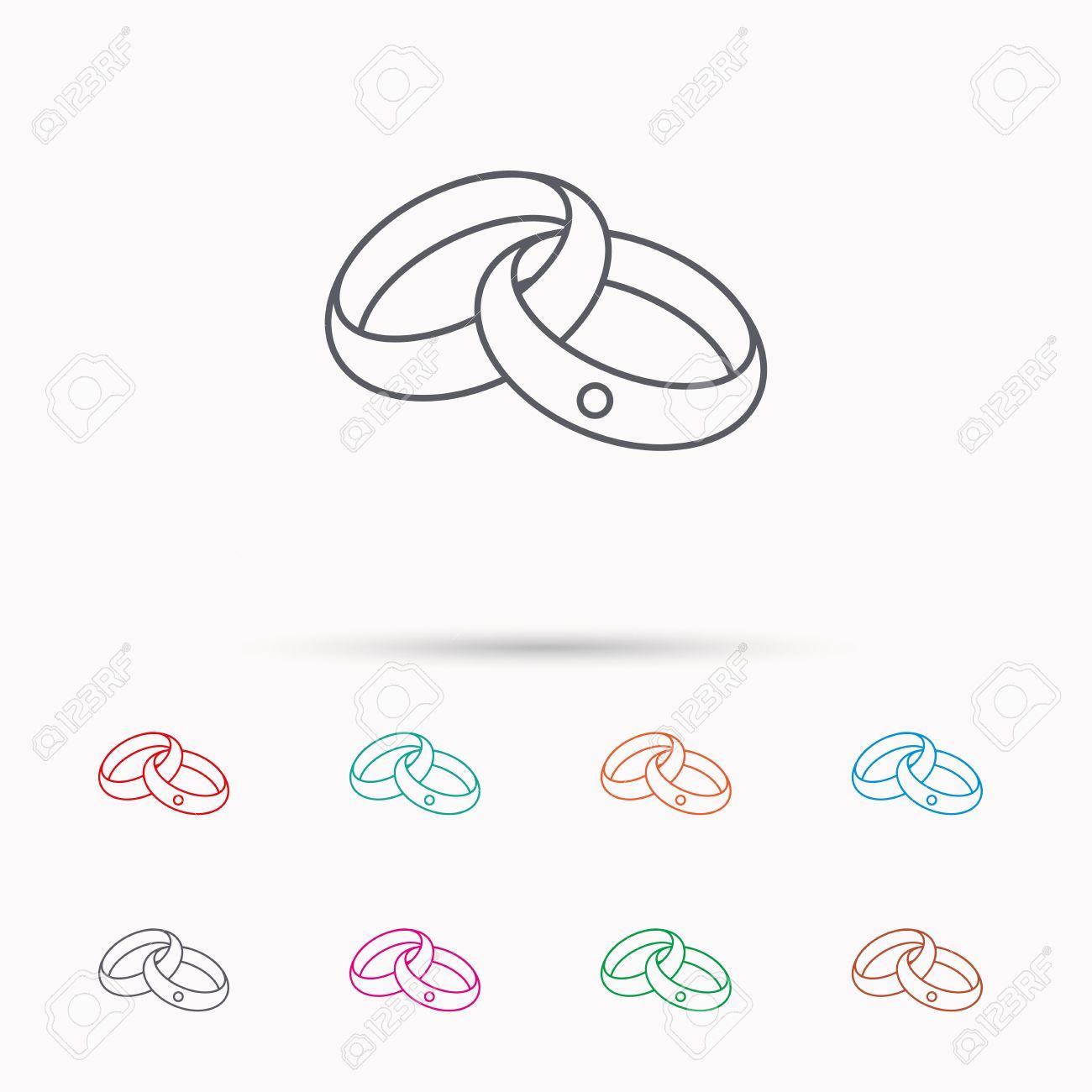 Hochzeitsringe Symbol. Braut und Bräutigam Schmuck Zeichen. Linear-Symbole  auf weißem Hintergrund.