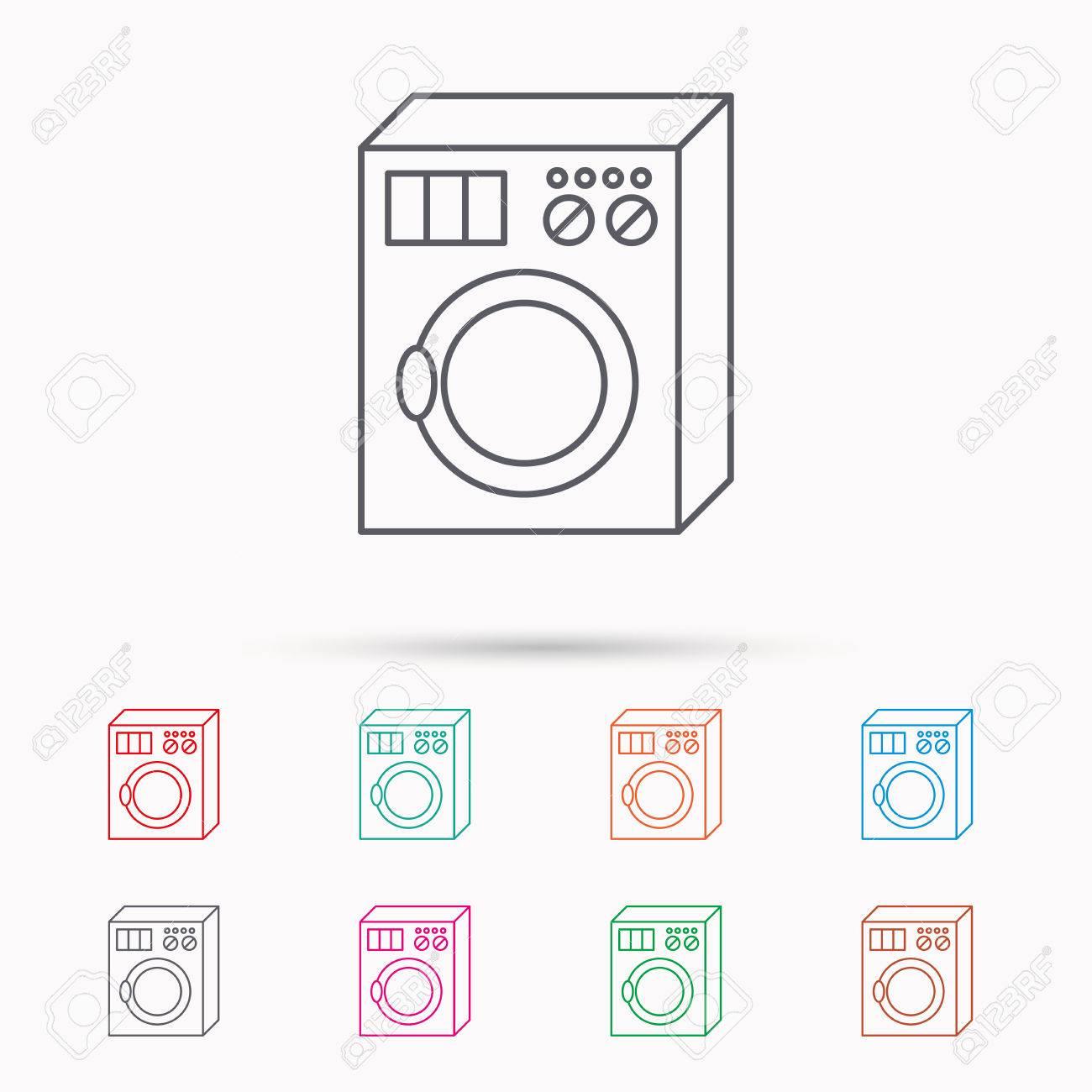 Waschmaschine Symbol Waschmaschine Zeichen Linear Symbole Auf