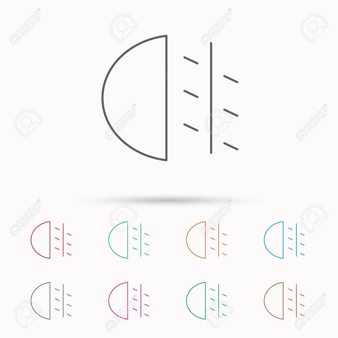 Nebelscheinwerfer Symbol Auto Strahl Zeichen Linear Symbole Auf
