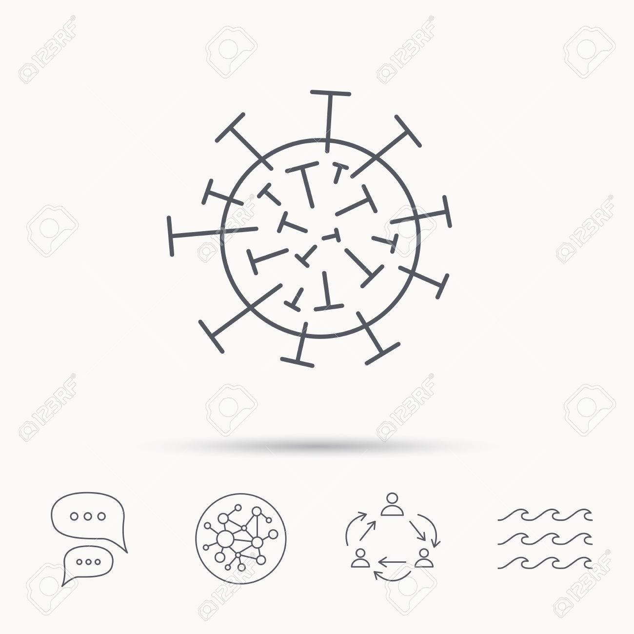 Virus Icon. Molecular Cell Sign. Biology Organism Symbol. Global ...