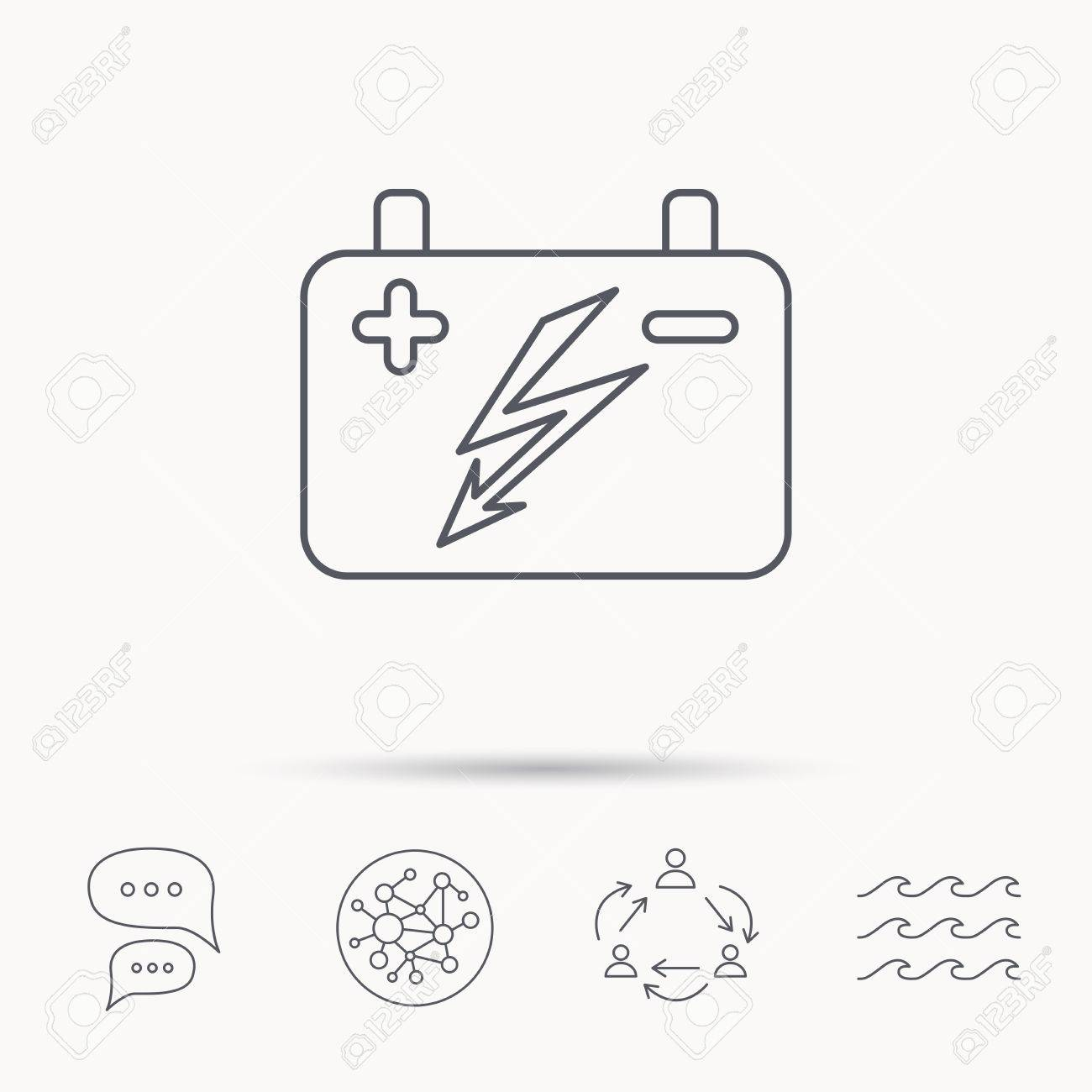 Accumulator Icon. Electrical Battery Sign. Global Connect Network ...
