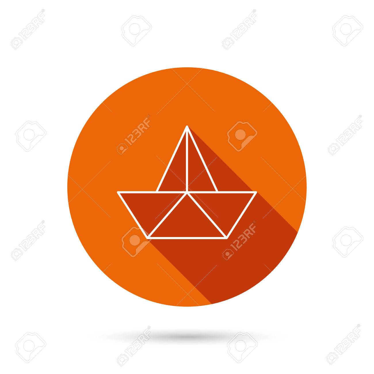 Paper boat icon origami ship sign sailing symbol round orange origami ship sign sailing symbol round orange web button with jeuxipadfo Gallery