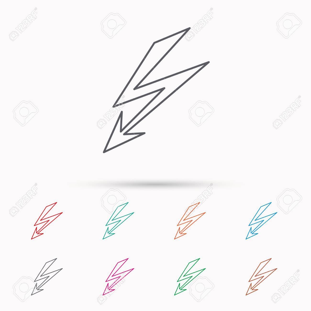 Beleuchtungs-Bolzen-Symbol. Netzteil Zeichen. Strom-Symbol. Linear ...