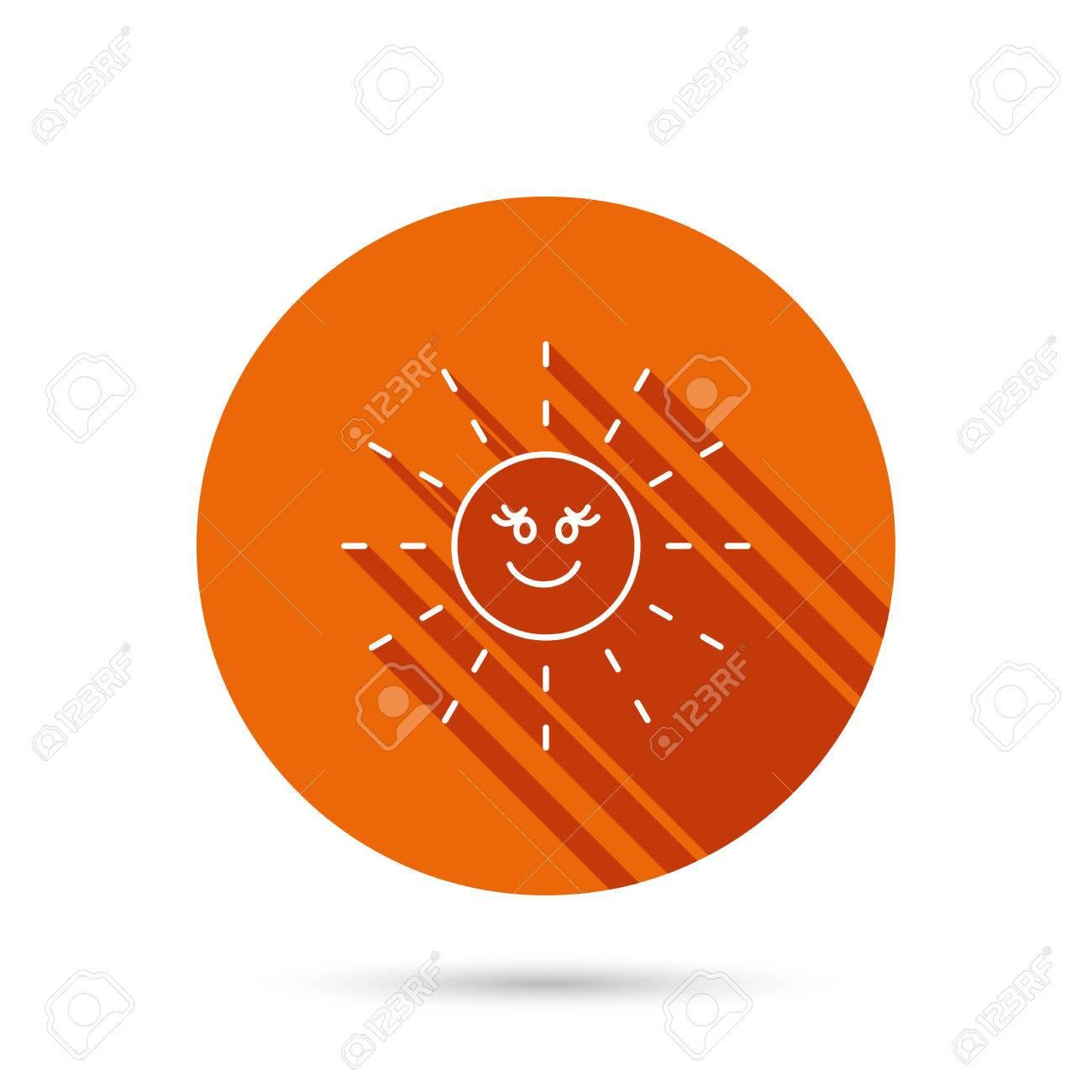 Sun Rays Icon Summer Sign Hot Weather Symbol Round Orange