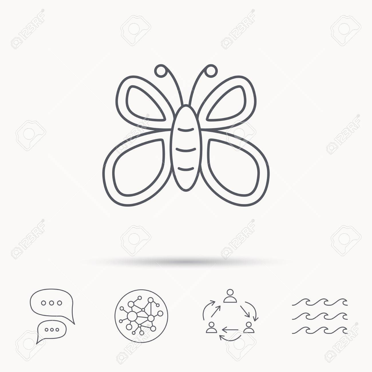 Butterfly icon flying lepidoptera sign dreaming symbol global butterfly icon flying lepidoptera sign dreaming symbol global connect network ocean wave biocorpaavc Images