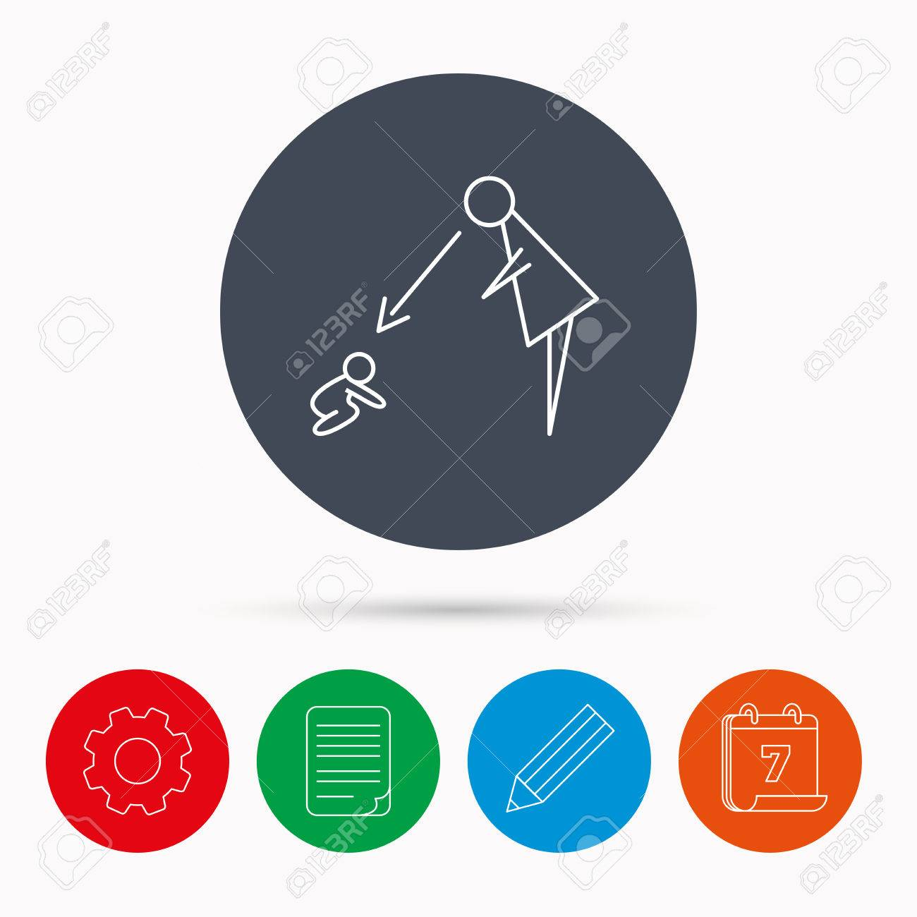 under nanny supervision icon babysitting care sign mother under nanny supervision icon babysitting care sign mother watching baby symbol calendar